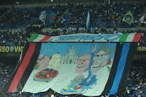 Tifo: Inter Milan fans display a giant banner