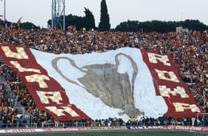 Tifo: AS Roma fans display a huge flag