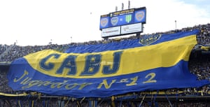 Tifo: Boca Juniors fans spread out a huge flag