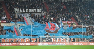 Tifo: Fans of St Pauli hold banners