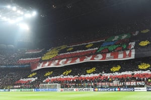 Tifo: AC Milan fans display a giant banner