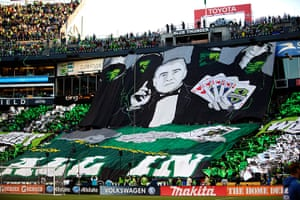 Tifo: Seattle Sounders supporters display their tifo