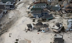 This aerial photograph shows the damage caused by superstorm Sandy to Seaside Heights, New Jersey. New Jersey is still suffering massive damage and power outages.