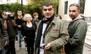 """Greek editor of """"Hot Doc"""" weekly magazine Costas Vaxevanis outside the courthouse in Athens this morning."""