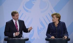 German Chancellor Angela Merkel and Irish Taoiseach Enda Kenny at the press conference earlier.