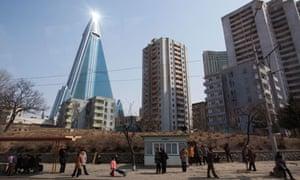 105-story Ryugyong Hotel in Pyongyang, North Korea