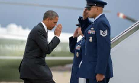 After spending the past few days dealing with the response to superstorm Sandy, Barack Obama boards Air Force One to get back on the presidential campaign trail in Wisconsin, Colorado and Nevada.