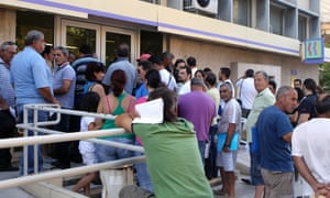 Crowds of jobless outside a local employment office in Nicosia. Cyprus's unemployment rate hit 12.2% in September.