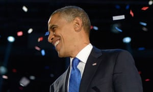 Barack Obama celebrates after delivering remarks during his election-night victory party