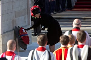 UK Remembrance Day: The Queen lays a wreath at the Cenotaph in Whitehall, London