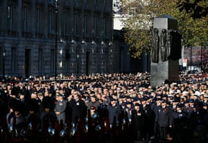UK Remembrance Day: Crowds are seen during a service of remembrance at the Cenotaph