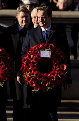 UK Remembrance Day: Prime Minister David Cameron at the Remembrance service
