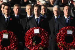 UK Remembrance Day: Ed Miliband, Nick Clegg and David Cameron wait to lay their wreaths