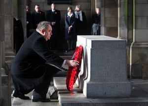 UK Remembrance Day: Scottish First Minister Alex Salmond lays a wreath