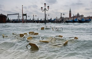 Venice floods: Chairs in St Mark's Basin