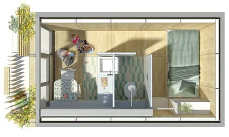 Prefabulous? … an aerial view of how one of the homes might look. Image: Levitt Bernstein