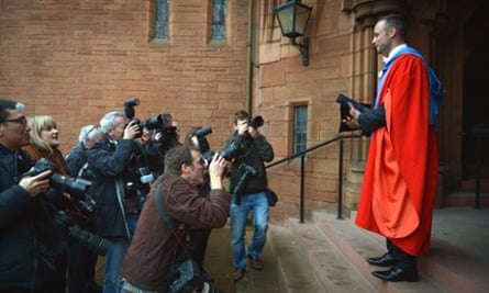 Oscar Pistorius, holds his scroll after receiveing his honorary doctorate from Strathclyde University in Glasgow. The athlete was made a Doctor of the University after competing at both the Olympic and Paralympic Games, where he won two gold medals and a silver medal.