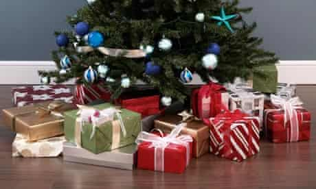 Presents under decorated Christmas tree