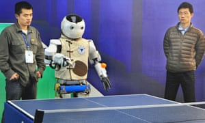 Robot plays ping pong in Shanghai