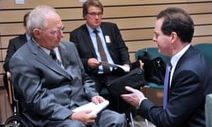 George Osborne talks with Wolfgang Schäuble