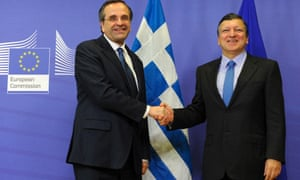 EC president Jose Manuel Barroso (right) welcomes Greek prime minister Antonis Samaras ahead of their meeting in Brussels today. Photograph: AFP/Getty Images/John Thys