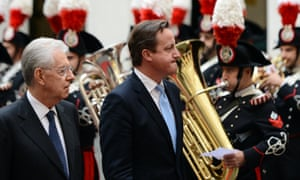Monti and Cameron review an honour guard ahead of their meeting.  Photograph: AFP/Getty Images/ Andreas Solaro