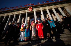Carlos Barria: Ethnic minority delegates in front of the Great Hall of the People