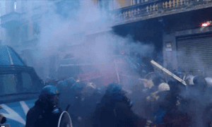 Clashes between Italian students and riot police, Milan, November 14