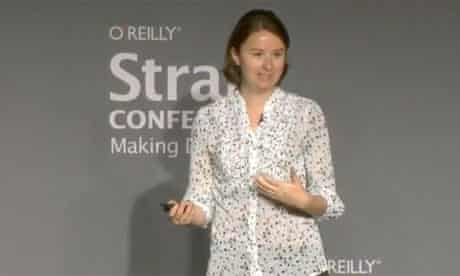 Kathryn Hurley speaking at Strata - screengrab