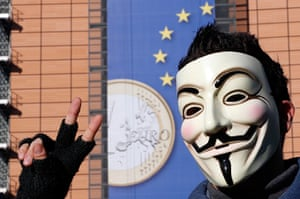 Euro protests: Brussels, Beligium: A protester wearing a Guy Fawkes mask