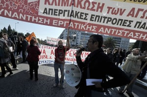 Euro protests: Athens, Greece: Protesters chant slogans outside the Greek parliament