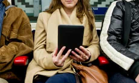 Reading Kindle on a train