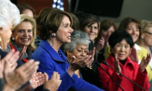 Nancy Pelosi announces her intention to continue to lead the House Democrats, surrounded by Democratic congresswomen at a news conference on Capitol Hill.