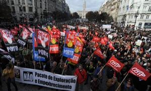 Demonstrators seen prior to a march during a general strike in Porto, Portugal, Wednesday, Nov. 14 2012.