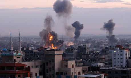 Smoke rises from buildings in Gaza City following Israeli airstrikes