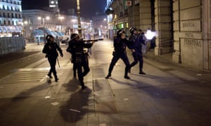 Riot police fire rubber bullets at demonstrators after a protest near the Spanish parliament turned violent on November 14, 2012 in Madrid, Spain.