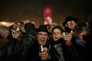 Beaujolais Nouveau: People drink wine and celebrate in Beaujeu's streets