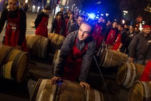 Beaujolais Nouveau: Barrels of Beaujolais Nouveau are rolled through the centre of Lyon