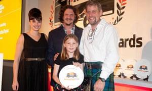 Gizzi Erskine and Jay Rayner present the best food blog award to Martha Payne