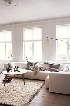 Homes: Danish: Different tones of white in the living room