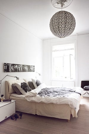 Homes: Danish: the bedroom in various shades of white