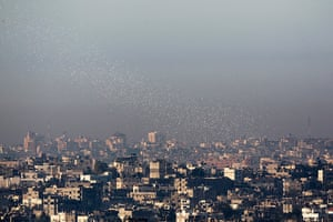 Gaza and Israeli strikes: Gaza Strip : Leaflets, dropped by Israeli warplanes