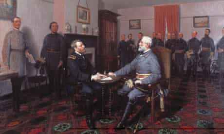 Robert E Lee surrendering to Ulysses S Grant at Appomattox, 1865