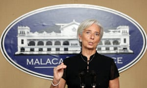 International Monetary Fund (IMF) Managing Director Christine Lagarde speaks during a press briefing inside the Malacanang presidential palace in Manila, Philippines, 16 November 2012.