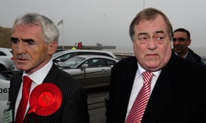 Lord Prescott and his agent Graham Petrini  arrive for  the police and crime commissioner declaration in Humberside.