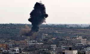 Israeli air strike in Gaza City,