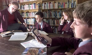 Pupils with mobile phones