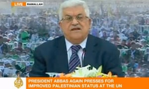 Palestinian President Mahmoud Abbas speaks in Ramallah Friday, in a screen grab from Al-Jazeera.