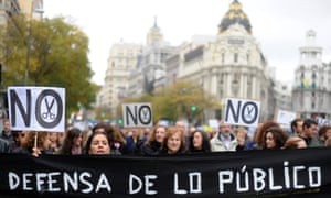 Government employees and civil servants take part in a demonstration against the Spanish government's latest austerity measures, in the center of Madrid, on November 16, 2012.