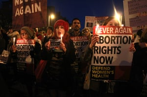 Ireland abortion row: Demonstrators hold placards and candles